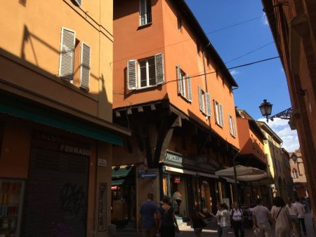 Walking in Bologna old town